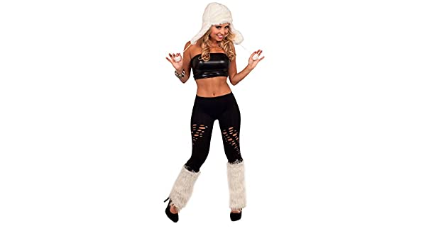 59577b45f0 Tube Top Cut Out Leggings Eskimo Outfit Furry Leg Warmers Halloween Costume  (Small)  Amazon.ca  Luggage   Bags