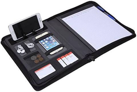Carpeta Portadocumentos A4 con Cremallera,Carpeta Agenda Organizador Oficina A4 con la carpeta del anillo Portafolio Padfolio de piel A4 Tablet ...