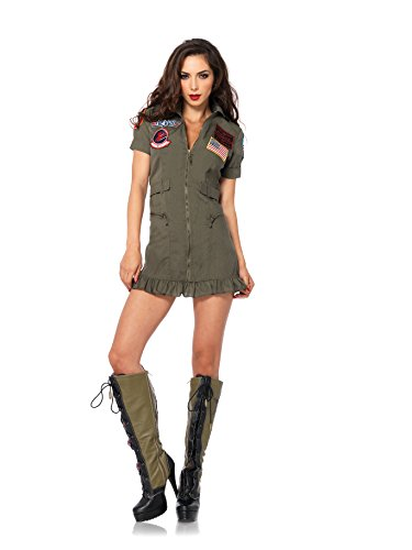 [Leg Avenue Women's Top Gun Flight Zipper Front Dress Costume, Green, Small] (Lady Reaper Costumes)