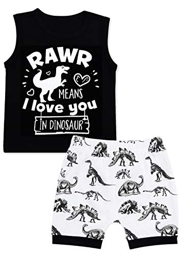 Baby Boy Clothes Dinosaur Short Sleeve Tops+Shorts 2Pcs Summer Outfits Set 12-18 Months Black -