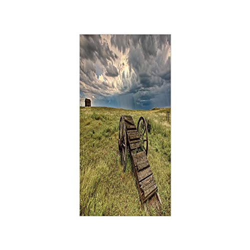 3D Decorative Film Privacy Window Film No Glue,Barn Wood Wagon Wheel,Old Prairie Cart Agricultural Field Ranch Dramatic Stormy Sky,Green Brown Grey,for Home&Office]()