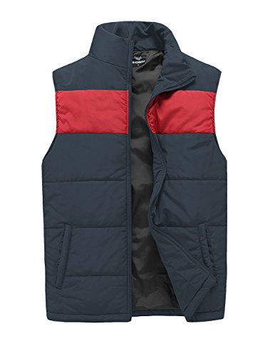 (MADHERO Mens Quilted Vest Outerwear Lightweight Warm Padded Sleeveless Jacket (L/46, Grey and Red))