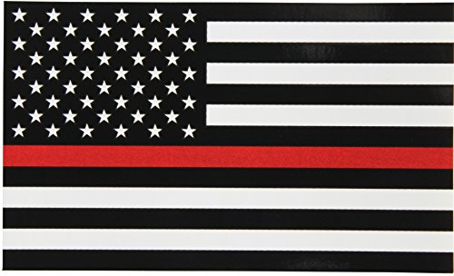 Thin Red Line Flag Decal - 3x5 in. Black White and Red American Flag Sticker for Cars Trucks and SUVs - In Support of Firefighters and EMTs -