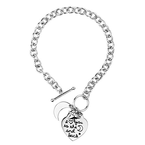 925 Sterling Silver Rolo Chain Bracelets with Heart Moon Star Charms ,8''