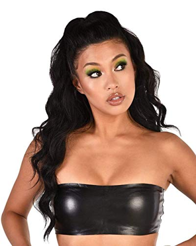 iHeartRaves Black Restless Faux Leatherette Sleek Underboob Tube Top (Small)