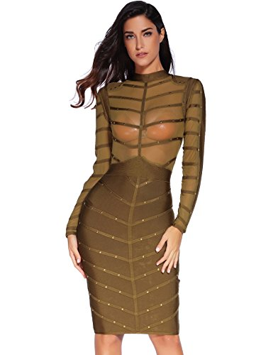 Studded Tunic Dress - Meilun Women's Rivets Studded Mesh Long Sleeve Club Bandage Bodycon Party Dress (S, green)