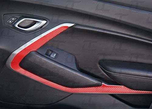 Camaro Carbon Fiber Door Trim Accent Decal kit (2016-2018) (Red Carbon Fiber) ()