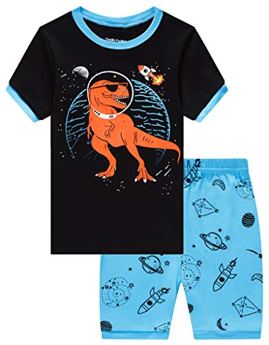 (Family Feeling Little Boys Dinosaur Pajamas Short Sets 100% Cotton Kid Summer Pjs)