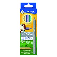 Lyra Color-Giants Lacquered Colored Pencils, 6.25mm Cores, Set of 6 Pencils, Assorted Metallic Colors (3941062)
