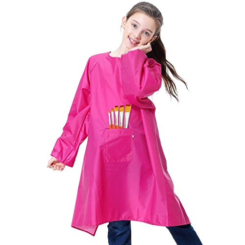 Royar beauty Kids Painting Apron, Waterproof Art Smocks for Child,Artist Aprons with Long Sleeve,Long Section Apron for Toddler(Small-XL)