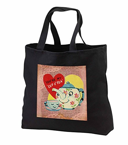 Price comparison product image Cassie Peters Valentine - Vintage Teapot Valentine - Tote Bags - Black Tote Bag JUMBO 20w x 15h x 5d (tb_253779_3)