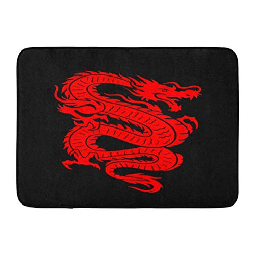 Ptrfedss Doormats Bath Rugs Outdoor/Indoor Door Mat Tattoo of Red Chinese Dragon on China Fire Asian Mythical Lucky Bathroom Decor Rug 16