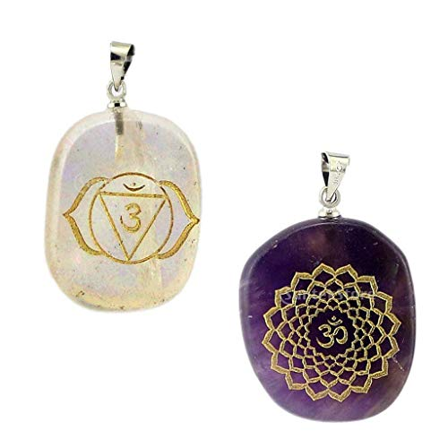 2 Pieces Engraved Amethyst Reiki Energy Crystal Jewelry Pendant Palm Stone Necklace Jewelry Crafting Key Chain Bracelet Pendants Accessories Best
