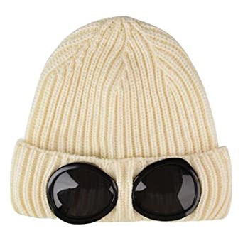 fb69c6fe48a CP COMPANY Goggle Knitted Wool Hat Off white  Amazon.co.uk  Clothing