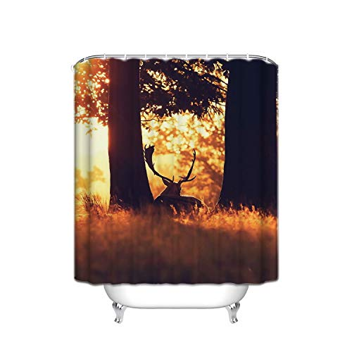 ALDECOR Sunset Wood Deer Artistic Fabric Shower Curtain. 48