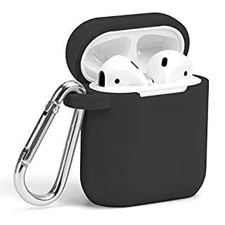 GMYLE AirPods Case, [Front LED Visible] Silicone Protective Shockproof Case Cover Skins with Keychain Compatible with Apple AirPod 2 & 1, Black
