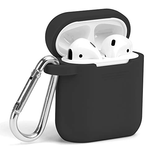 - AirPods Case, GMYLE Silicone Protective Shockproof Wireless Charging Airpods Earbuds Case Cover Skin with Keychain Accessory kit Set Compatible for Apple AirPods 1 & 2 2016-2019 - Black