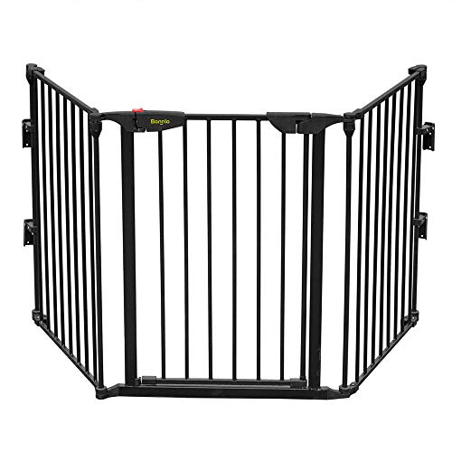 Bonnlo 73-Inch Configurable Walk-Through Baby Safety Gate Adjustable Metal Barrier/Fence for Toddler/Pet/Dog/Cat/Puppy - Ideal for Openings/Stairs/Doorways, Includes 4 Pack of Wall Mounts (28