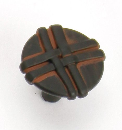 Lineage Home Furnishings - Laurey 37021 1-3/8-Inch Lineage Knob, Black with Terra Cotta