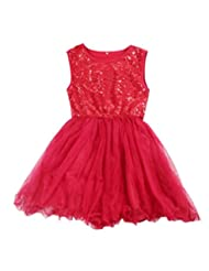 Pooqdo Cotton,Sequins Baby Girls Sequins Dresses Princess Party Summer Style Dress (140, Red)