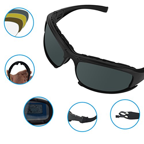 Polarized Sports Sunglasses, UV400 Protection Motorcycle Goggles, TR90 Durable Sports Glasses with 4 Interchangeable Lens for Cycling, Running, Baseball Riding, Golf Outdoor Activities - Eclipse Sunglasses