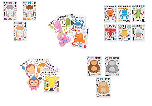 Make Your Own Stickers Sets Bundle of Five: Includes Zoo Animals, Sea Animals, Sloth, Hamster and Robot for Party Favors Craft Projects Rainy Day Activities (5 Sets of 12 Sheets)