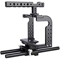 Annsm New Professional Video Camera Cage for Panasonic Lumix GH5 and Compatible with GH4/GH3 Cameras with Aviation Aluminum Alloy Material Black