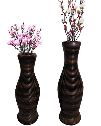 "HuiDao Tall Floor Vase 20"" High Bamboo and Artificial Rattan Standing Vase Floor Vase for Home Office Living Room Decor (Style 3, Small)"