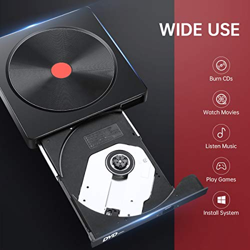 External CD Drive, USB 3.0 Type C DVD Drive, AMIGIK Dual Port DVD Player - Portable Optical Burner Writer Rewriter, High Speed Data Transfer for Laptop Notebook Desktop PC MAC OS Windows Linux
