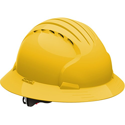 - Safety Works Pro Hard Hat, Vented, Yellow, 6-Point Wheel Ratchet Suspension