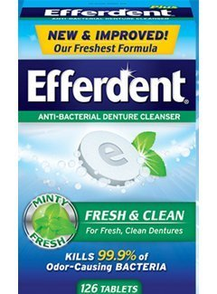 Efferdent Plus Mint Anti-Bacterial Denture Cleanser Tablets 126 ea (Pack of - Tablet Efferdent Denture
