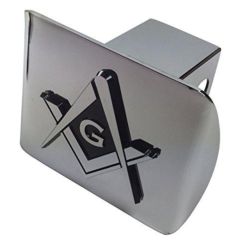 (Mason Square Compass Freemason Emblem on Chrome METAL Hitch Cover)