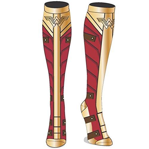 DC Comics Wonder Woman Movie Costume Sublimated Knee High Socks (Boots Wonder Womens Woman)