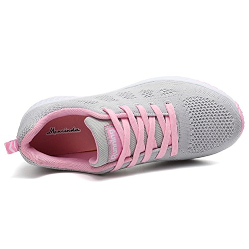 JARLIF Women's Breathable Fashion Walking Sneakers Lightweight Athletic Tennis Running Shoes US5.5-10 Greyred