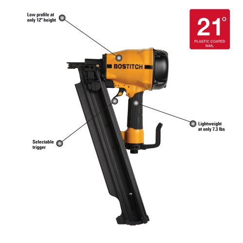 BOSTITCH LPF21PL 21 Degree 3-1/4-Inch Low Profile Framing Nailer