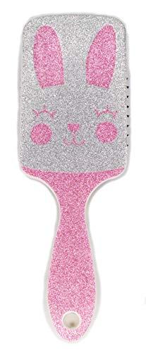 Glittery Detangler Brush for Kids w/Animal Character, Sparkly Icon Hair Brush (Bunny)