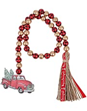 Yardwe Christmas Wood Bead Garland with Tassels Rustic Farmhouse Wooden Bead Garland Wreath Embellishment with Xmas Red Truck Tag Ornament for Christmas Wall Door Window Decor