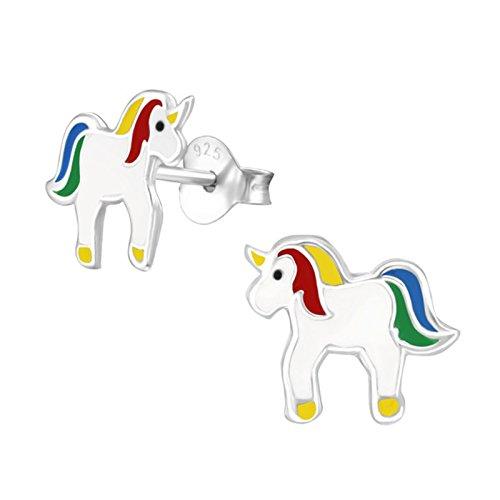 gh1a Unicornio Pendientes 925plata caballo Niños niña pendientes regalo Idea