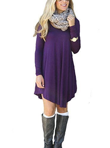 koobea Shirt Dresses for Women Casual Party Cocktail with Sleeves from Purple X-Large