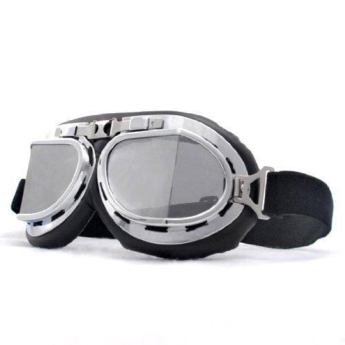 Retro Style Military Army Tactical Ski Skiing Snowmobilings Snowboard Snow Snowmobile Snowvehicle Chrome Frame Sun UV Protect Goggles - Goggles Lens Round