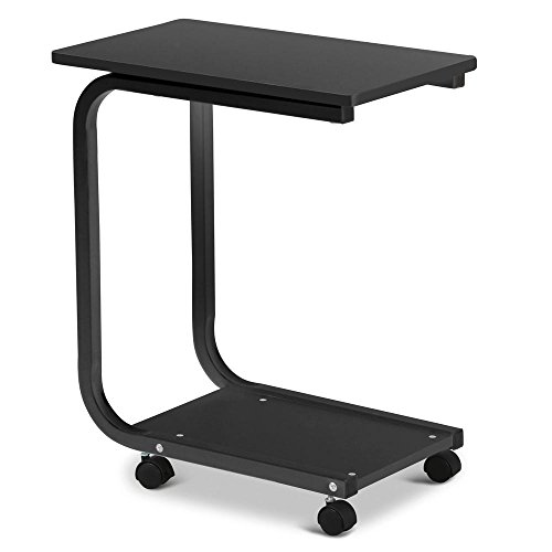table with wheels. yaheetech 2 tier u-shaped black sofa snack table tray, with wheels living room furniture s