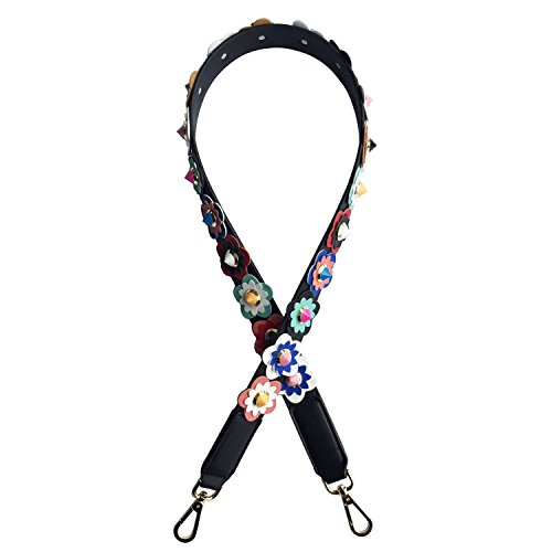 Lam Gallery Flower Rivet PU Leather Wide Purse Replacement Straps for Womens Handbag Replacement Purse Handle Strap Extender Decorative Shoulder Straps Accessories DIY Your Bag Colorful