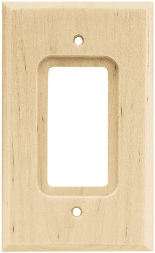 Brainerd 64668 Wood Square Single Decorator Wall Plate / Switch Plate / Cover, Unfinished