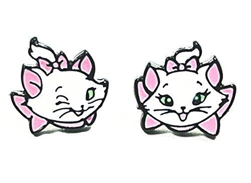 Disney Inspired Aristocats Cat Marie Character Head Metal Enamel Stud Earrings]()