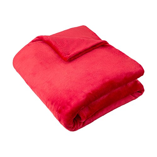 Cozy Fleece Super Soft Plush Blanket, Twin, Solid, (Twin Red Blanket)