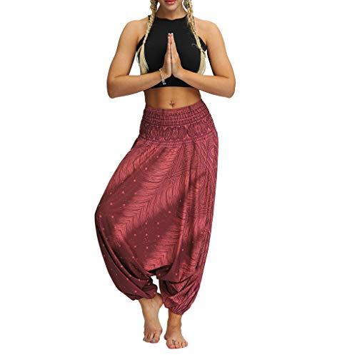 Womens Palazzo Pants,kaiCran Ladies Boho Loose Elastic Waist Harem Pants Yoga Bloomers Pants Trousers (Free Size, Wine)