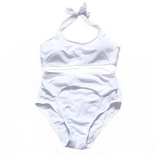 WANGXN Mujer de bikini de cintura hueco atractivo traje de baño partido que cuelga del cuello de refuerzo Black