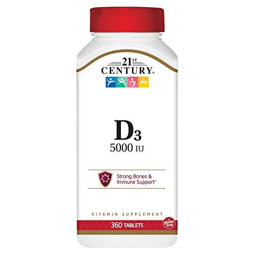 21st Century D3 5000 IU Tablets, 360 - Tablet Century Vitamins 21st