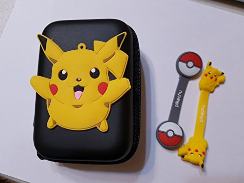 Efnine Pikachu Square Case for Earphone Earpods In-ear Headphone USB Key or Coins with Two Pocketmon Cord Ties