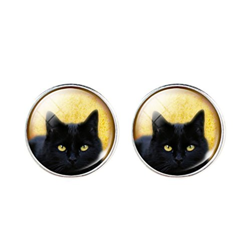 DaisyJewel I Love Cats Domed Portrait Studs Black Cat Earrings